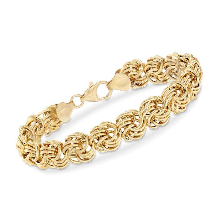 "Italian Rosetta-Link Bracelet in 14kt Yellow Gold. 7"", , default"
