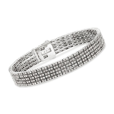 5.00 ct. t.w. Diamond Five-Strand Bracelet in 14kt White Gold, , default