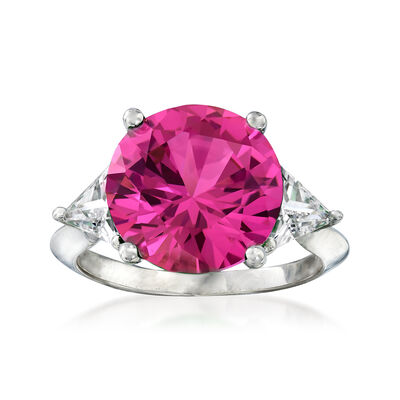 6.25 Carat Simulated Pink Sapphire and 1.50 ct. t.w. CZ Ring in Sterling Silver