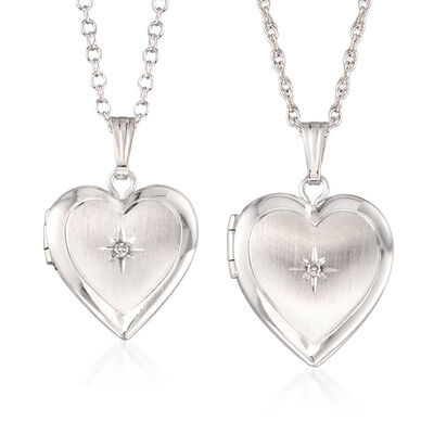 Mom & Me Heart Locket Necklace Set of Two with Diamond Accents in 14kt White Gold, , default