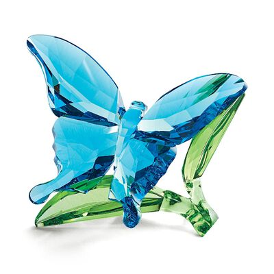 """Swarovski Crystal """"Butterfly on Leaves"""" Blue and Green Crystal Figurine, , default"""