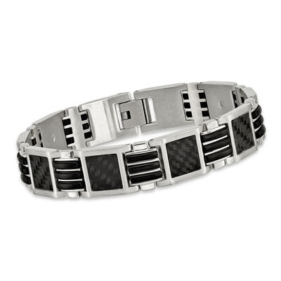 Men's Stainless Steel Bracelet with Black Carbon Fiber and Rubber Inlay  9""