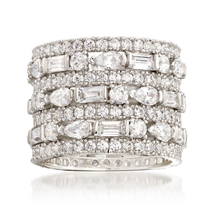 6.56 ct. t.w. CZ Multi-Row Eternity Band in Sterling Silver, , default