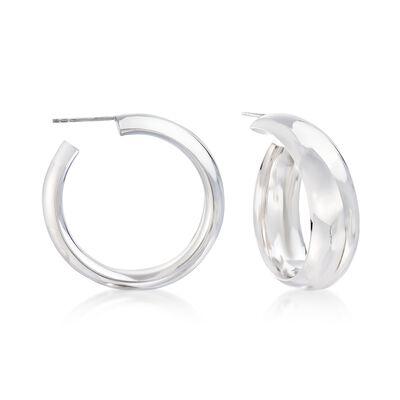 Sterling Silver Curled Hoop Earrings, , default
