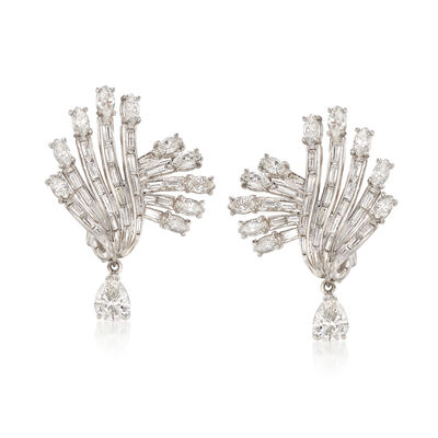 C. 1970 Vintage 4.75 ct. t.w. Diamond Fan Drop Earrings in Platinum, , default