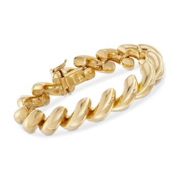 "Italian 18kt Gold Over Sterling Wide San Marco Bracelet. 8"", , default"