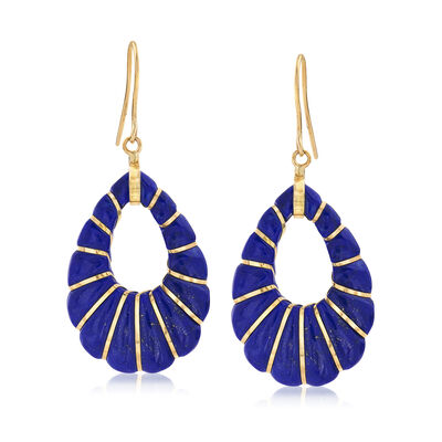 Lapis Open-Teardrop Earrings in 14kt Yellow Gold