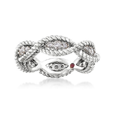 "Roberto Coin ""Barocco"" .46 ct. t.w. Diamond Roped Ring in 18kt White Gold"