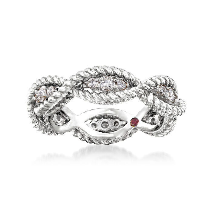 "Roberto Coin ""Barocco"" .46 ct. t.w. Diamond Roped Ring in 18kt White Gold. Size 6.5"