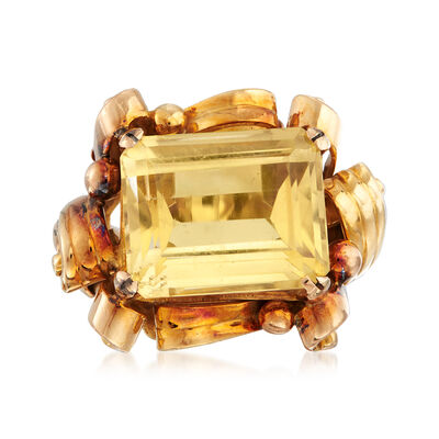 C. 1940 Vintage 11.00 Carat Citrine Ring in 18kt Yellow Gold