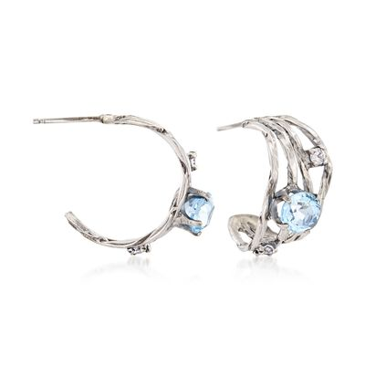2.20 ct. t.w. Blue Topaz and .33 ct. t.w. CZ Half Hoop Earrings in Sterling Silver, , default