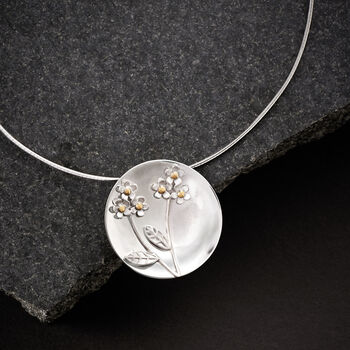 Sterling Silver Flower Disc Pendant Necklace with 14kt Yellow Gold, , default