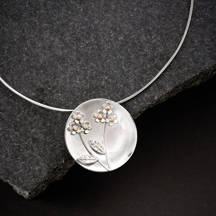 Sterling Silver Flower Disc Pendant Necklace with 14kt Yellow Gold