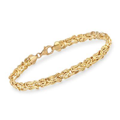 14kt Yellow Gold Textured and Polished Elongated Byzantine Bracelet, , default