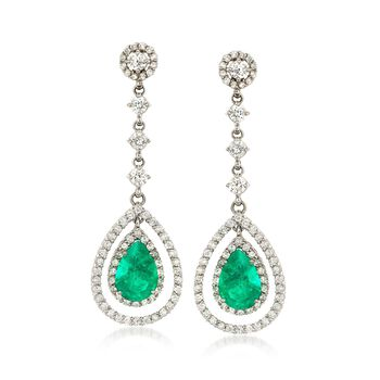 C. 1990 Vintage 4.80 ct. t.w. Emerald and 2.90 ct. t.w. Diamond Drop Earrings in 14kt White Gold , , default