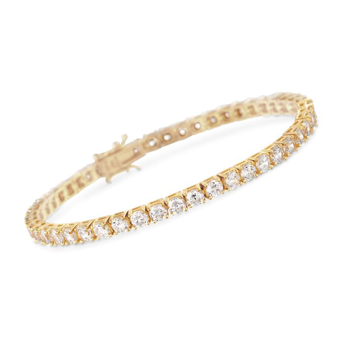 8.00 ct. t.w. CZ Tennis Bracelet in 14kt Gold Over Sterling