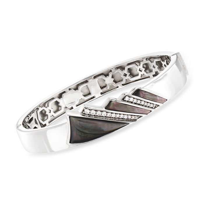 """Belle Etoile """"Empire"""" Black Mother-Of-Pearl and .36 ct. t.w. CZ Bangle Bracelet in Sterling Silver. 7.5"""", , default"""