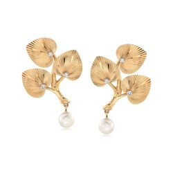 C. 1970 Vintage 7mm Cultured Pearl and .10 ct. t.w. Diamond Leaf Clip-On Earrings in 14kt Yellow Gold , , default
