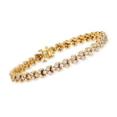 C. 1980 Vintage 4.60 ct. t.w. Diamond Bracelet in 14kt Yellow Gold