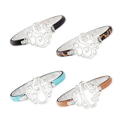 Sterling Silver Monogram Bracelet with Leather, , default