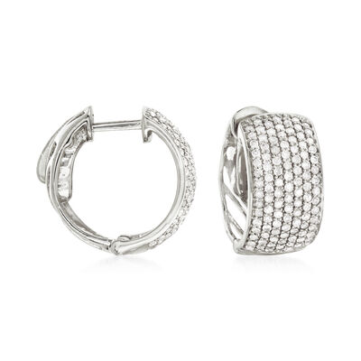 1.00 ct. t.w. Pave Diamond Hoop Earrings in 14kt White Gold