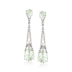 7.90 ct. t.w. Green Amethyst and .19 ct. t.w. Diamond Drop Earrings in Sterling Silver, , default