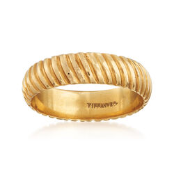 C. 1990 Vintage Tiffany Jewelry 18kt Yellow Gold Ribbed Ring. Size 9.5, , default