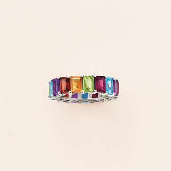 10.00 ct. t.w. Multi-Gemstone Eternity Band in Sterling Silver. Size 7