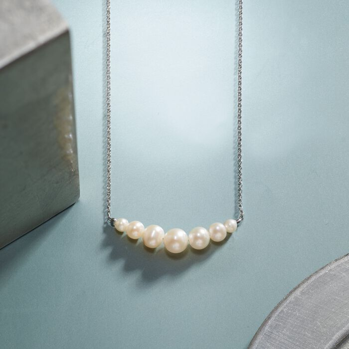 4-8mm Cultured Pearl Necklace in Sterling Silver