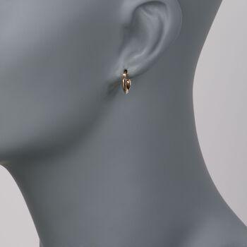 "14kt Yellow Gold Faceted Hoop Earrings. 7/16"", , default"