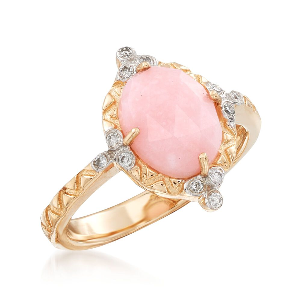 Pink Opal and Diamond-Accented Ring in 14kt Yellow Gold | Ross Simons