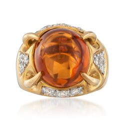 C. 1990 Vintage Aletto & Co. 15.00 Carat Citrine and .60 ct. t.w. Diamond Ring in 14kt Yellow Gold. Size 6, , default