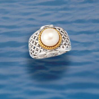 9.5-10mm Cultured Button Pearl Ring in Two-Tone Sterling Silver