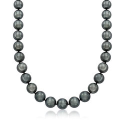 10-12mm Black Cultured Tahitian Pearl Necklace With 14kt White Gold, , default