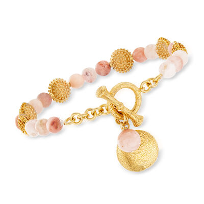 Pink Opal Beaded Charm Bracelet in 18kt Gold Over Sterling, , default