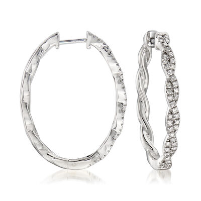 .50 ct. t.w. Diamond Twisted Hoop Earrings in Sterling Silver