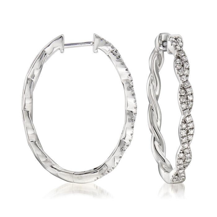 """.50 ct. t.w. Diamond Twisted Hoop Earrings in Sterling Silver. 1"""""""