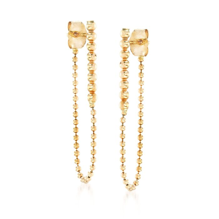 14kt Yellow Gold Beaded Front-Back Drop Earrings, , default