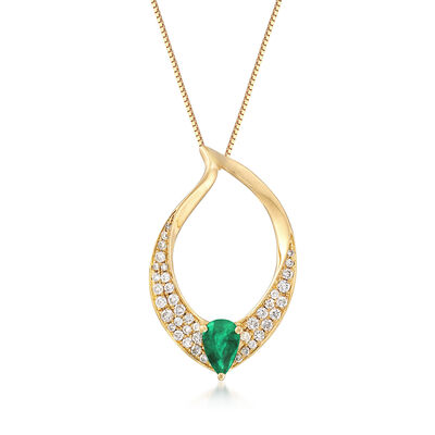.30 Carat Emerald and .24 ct. t.w. Diamond Pendant Necklace in 18kt Yellow Gold, , default
