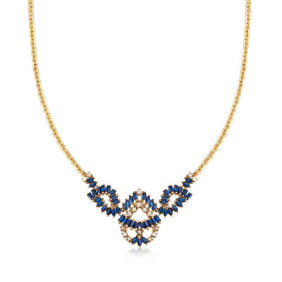 C. 1980 Vintage 4.80 ct. t.w. Sapphire and .55 ct. t.w. Diamond Bib Necklace in 14kt Yellow Gold, , default