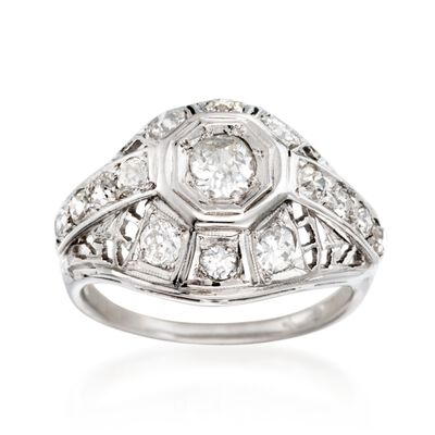 C. 1950 Vintage 1.00 ct. t.w. Diamond Openwork Dome Ring in 14kt White Gold, , default