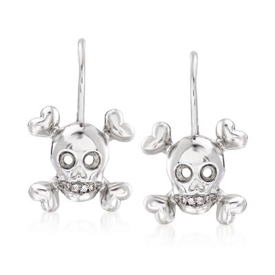 C. 1990 Vintage Christian Dior Diamond-Accented Skull Drop Earrings in 18kt White Gold, , default