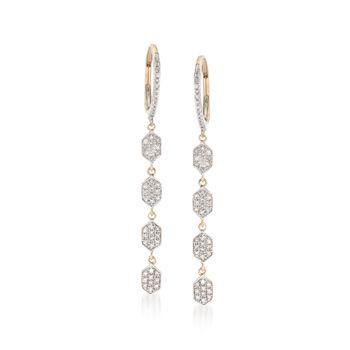 """.33 ct. t.w. Diamond Geometric Drop Earrings in 14kt Yellow Gold. 1 3/4"""", , default"""
