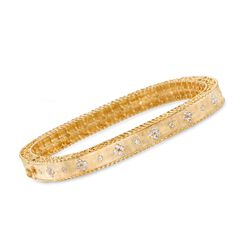 "Roberto Coin ""Princess"" .48 ct. t.w. Diamond Square Bangle Bracelet in 18kt Yellow Gold. 7"", , default"
