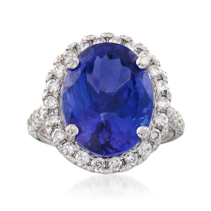 11.00 Carat Tanzanite and .95 ct. t.w. Diamond Ring in 14kt White Gold