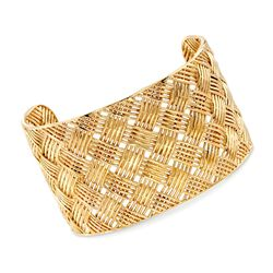 "Italian 18kt Yellow Gold Over Sterling Silver Basketweave Wide Cuff Bracelet. 7.5"", , default"