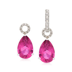 6.50 ct. t.w. Pink Topaz Pear-Shaped Earring Charms in Sterling Silver , , default