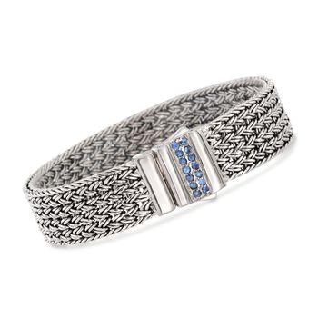 """Phillip Gavriel """"Woven"""" .30 ct. t.w. Blue Sapphire Basketweave Bracelet in Sterling Silver. 7.25"""", , default"""