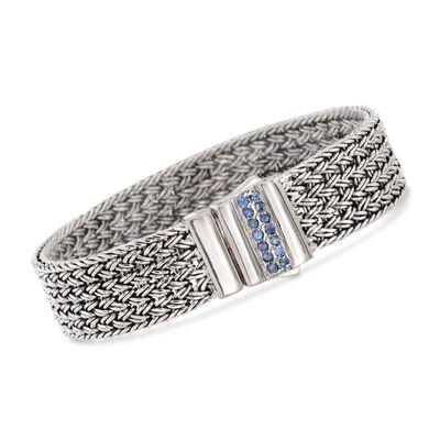 """Phillip Gavriel """"Woven"""" .30 ct. t.w. Blue Sapphire Basketweave Bracelet in Sterling Silver, , default"""