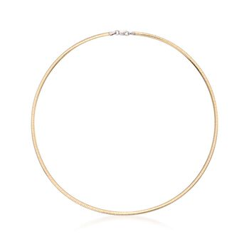Italian 3mm Two-Tone Sterling Silver Reversible Omega Necklace, , default